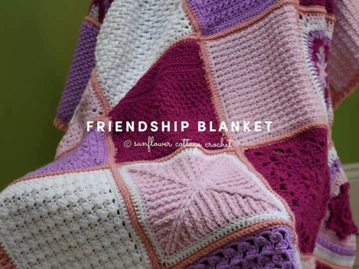 picture of pink purple crochet blanket friendship cal sunflower cottage crochet