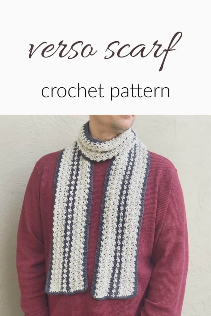 Man in striped textured crochet scarf pattern in grays with red shirt.