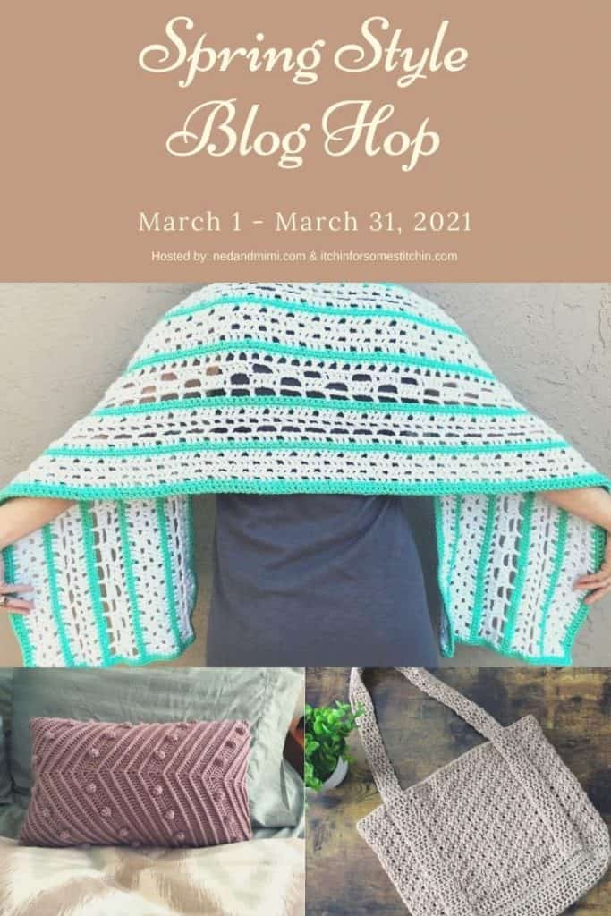 Pin image of shawls and pillow with text Spring Style Blog Hop.