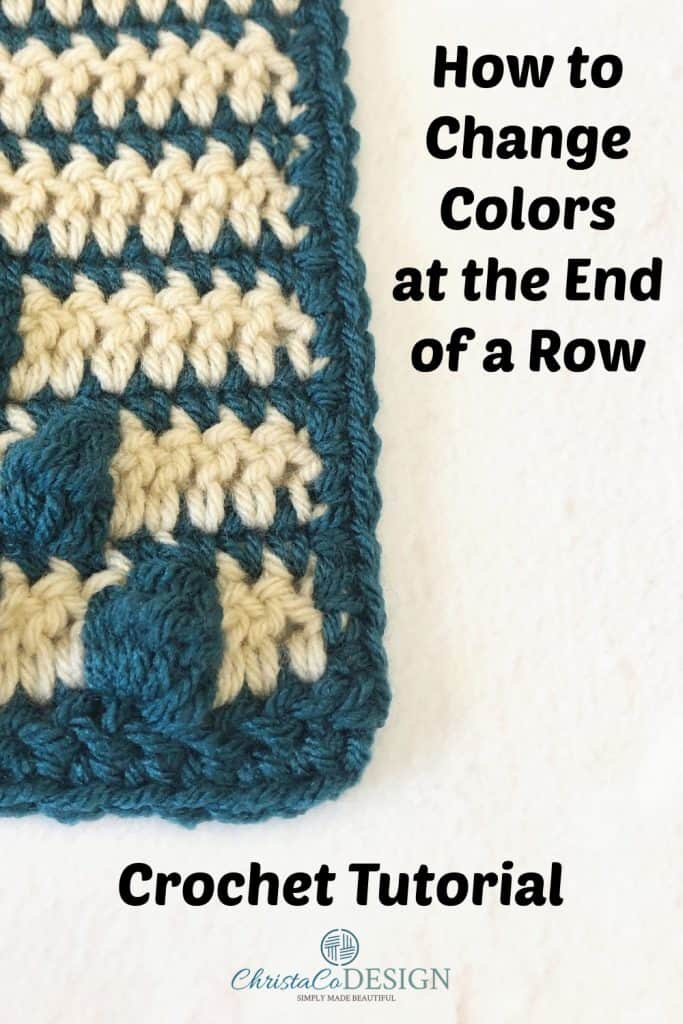 Crochet color changes on a square.