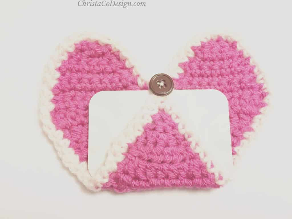 Gift card inserted in crochet heart.