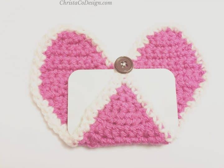 Gift card inserted in crochet heart.