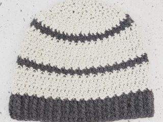 Light and dark grey striped hat crochet.