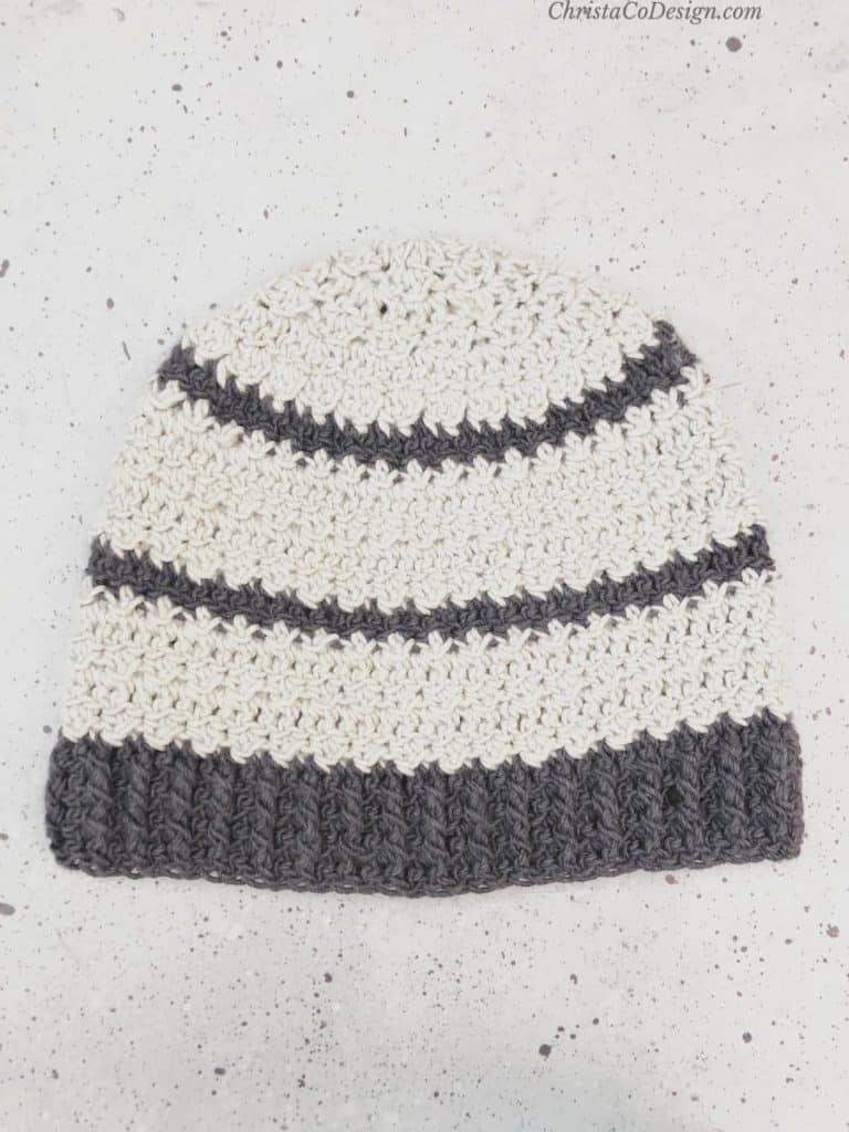 Light and dark grey striped hat crochet.