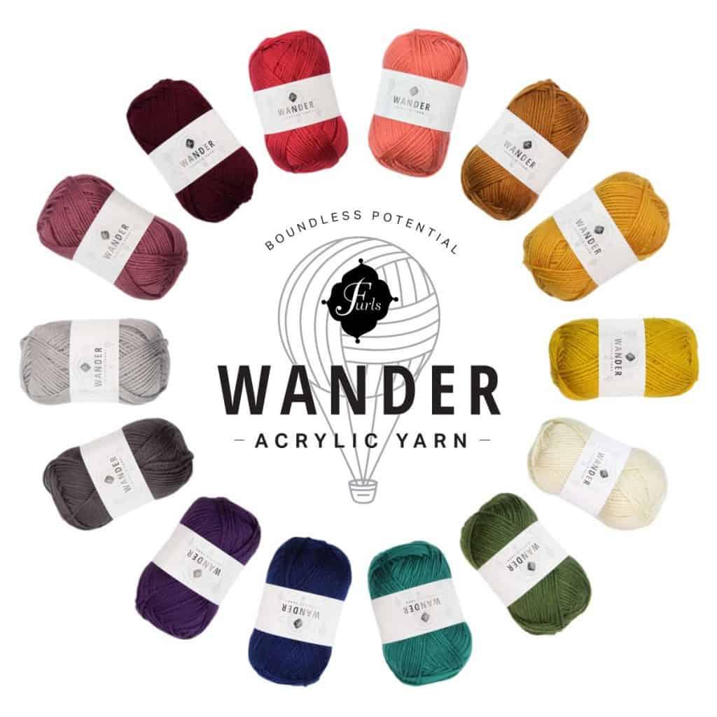 Furls Wander Yarn in a color circle.