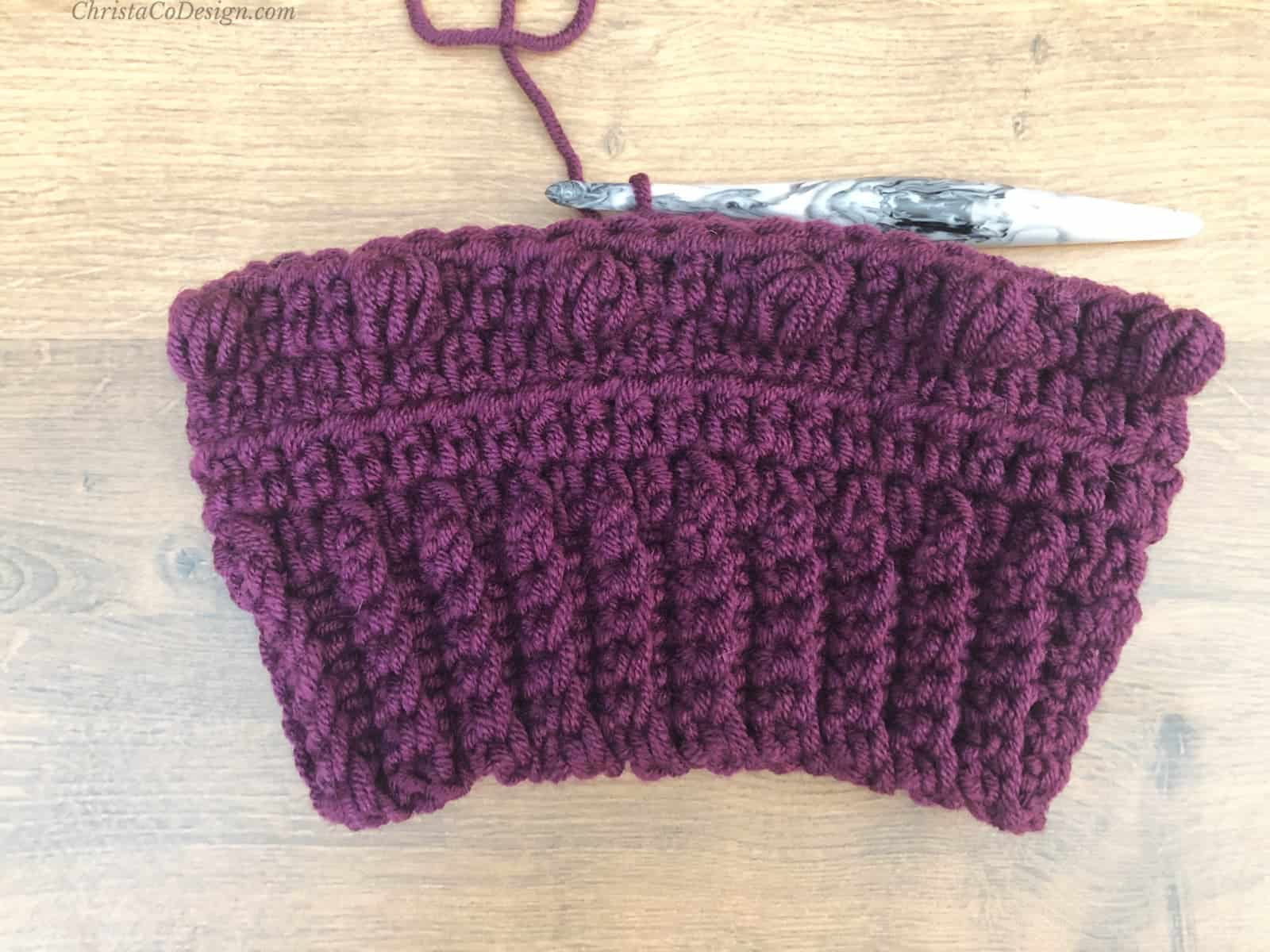 Bottom up ribbing and first 4 rows of hat.