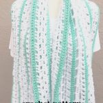 Blue and green lacy scarf draped on mannequin.