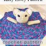 Cat lovey with purple dress crochet pattern.