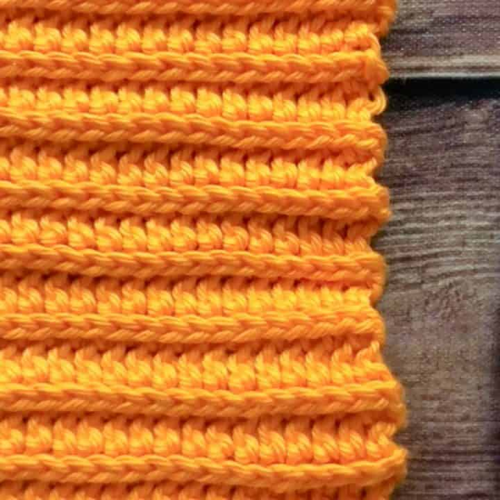 Swatch of ribbing from 3rd loop half double crochet stitch.