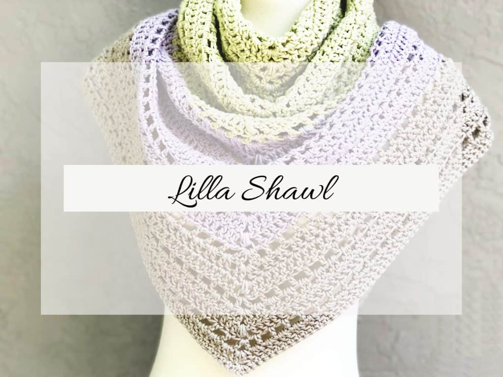 Lilla Shawl with text overlay.
