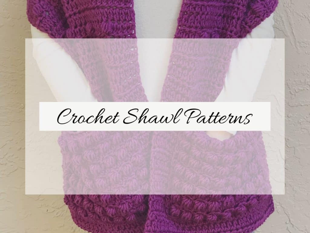 Crochet pocket shawl in purple with text overlay patterns.