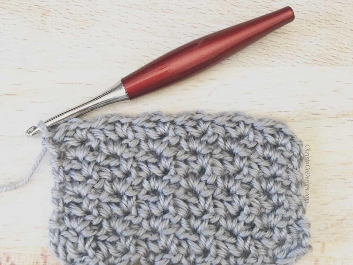 Wattle stitch swatch in grey.