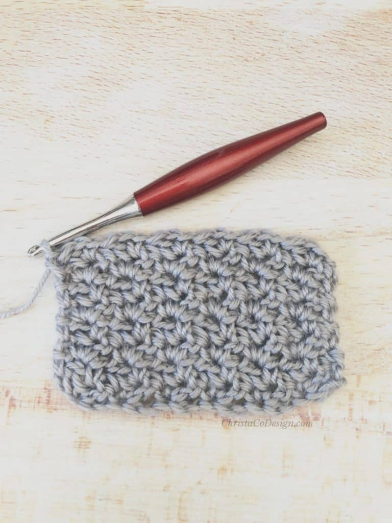 Grey swatch of wattle stitches for tutorial.