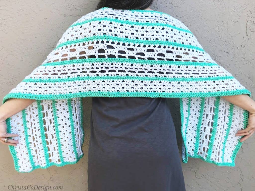 Finestra shawl lacy squares rectangle wrap.