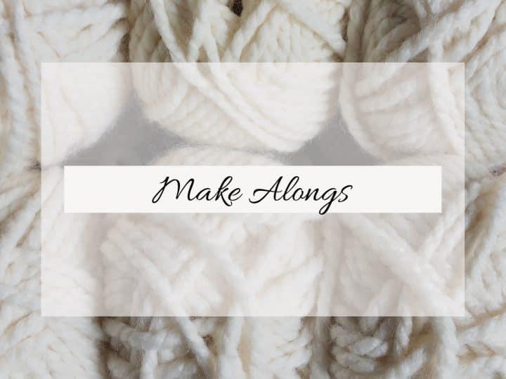 White yarn make along text.