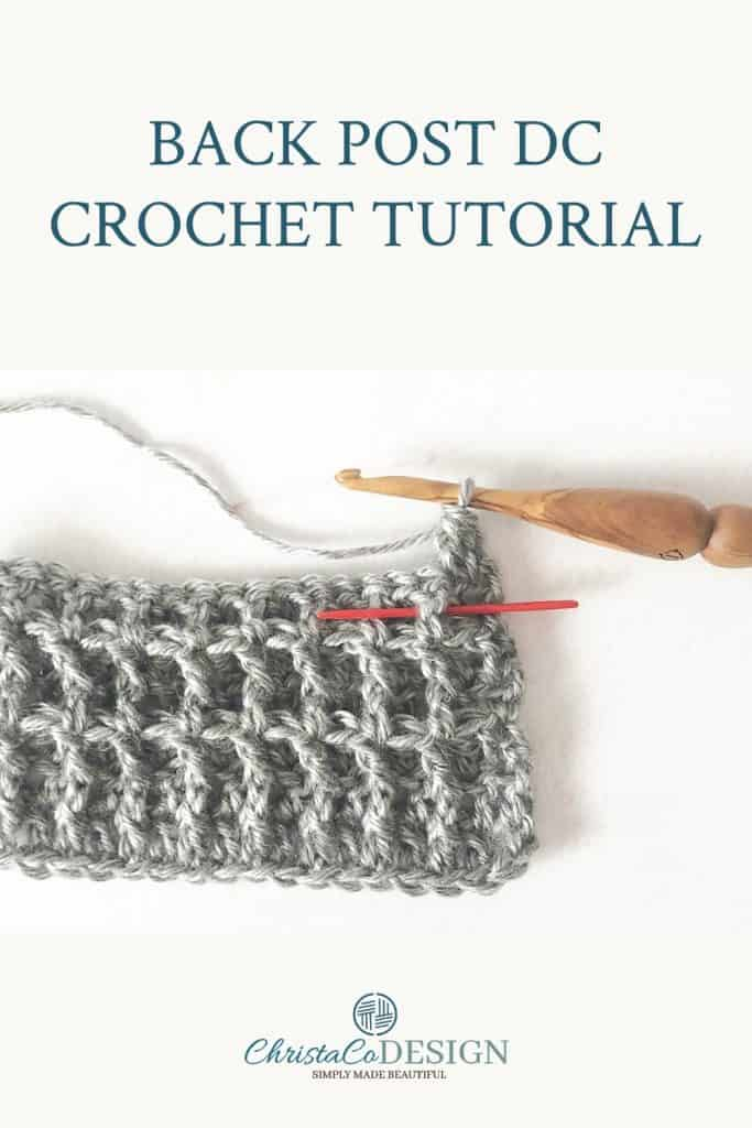 Back post double crochet swatch pin image.