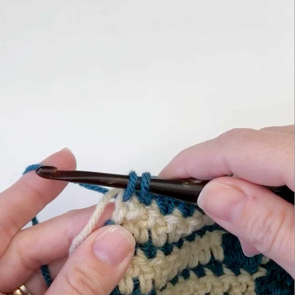 Begin the last stitch as normal.