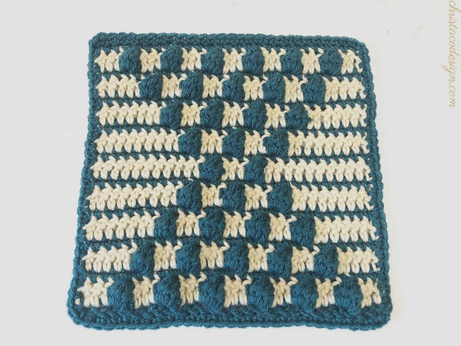 Finished square with blue single crochet border.