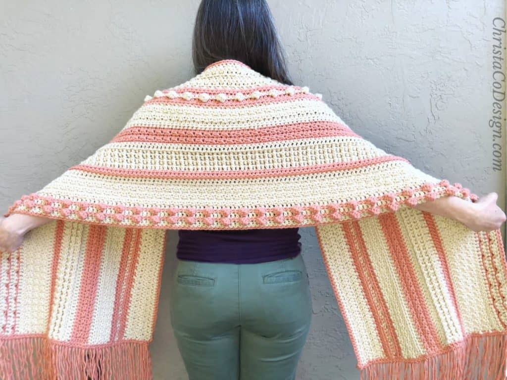 Back view of crochet bobble texture shawl.