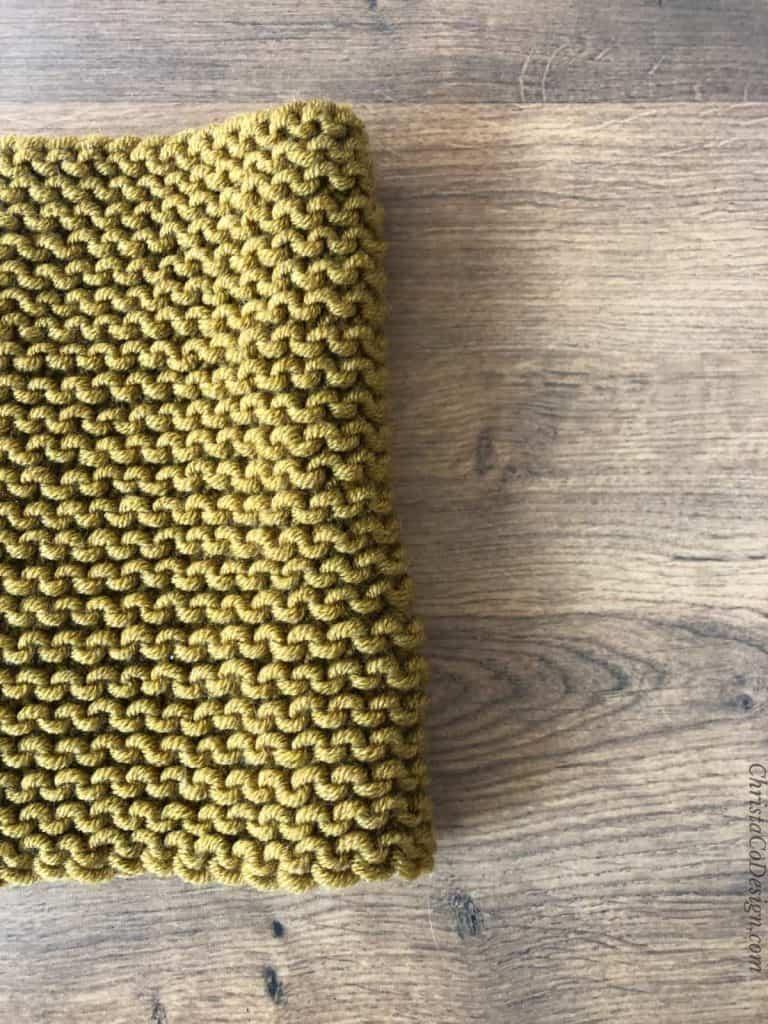 Side of cowl knit in garter.