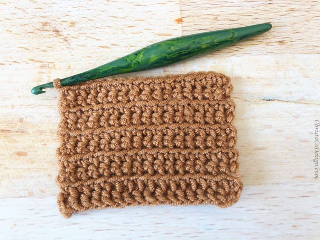 Front loop only single crochet swatch.