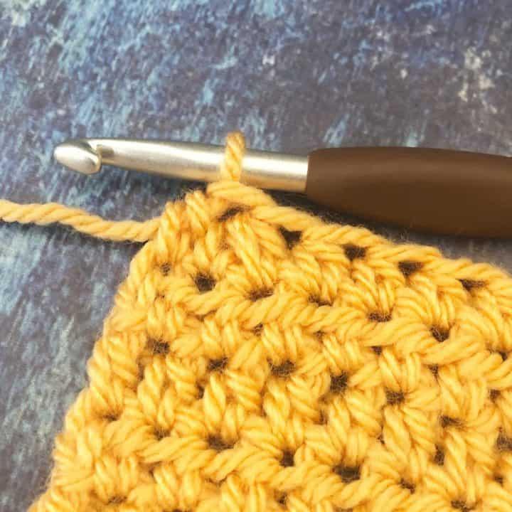 Half double crochet two together swatch.