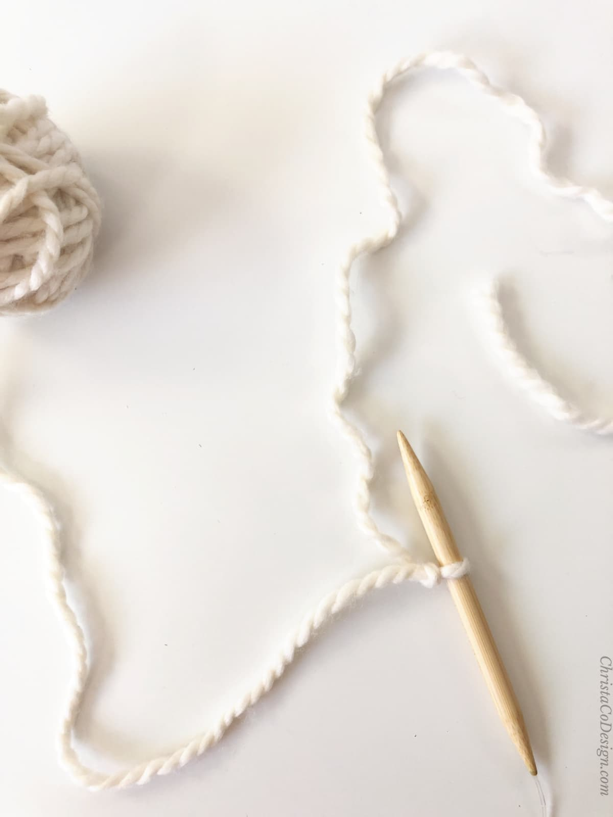 Slip knot on needle, working yarn on left, long tail on right.