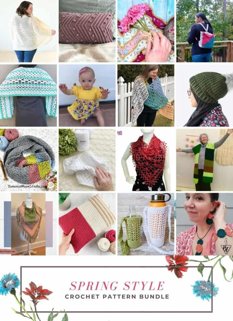 31 crochet patterns for spring in a collage.
