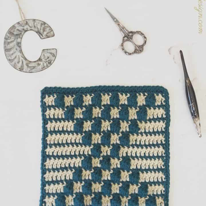 Crochet Bobble Square Pattern in blue and beige.