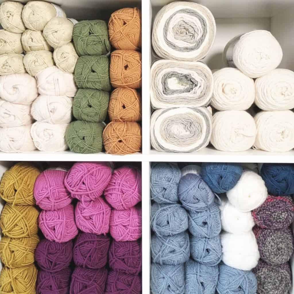 Yarn stored in shelves.