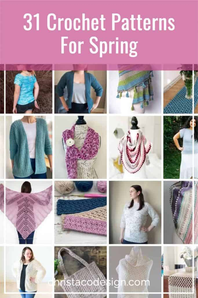 Collage of crochet patterns for spring style bundle.