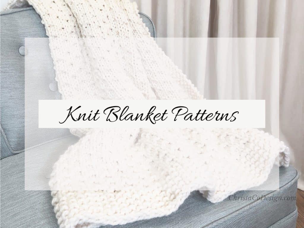 Cream knit blanket on chair.