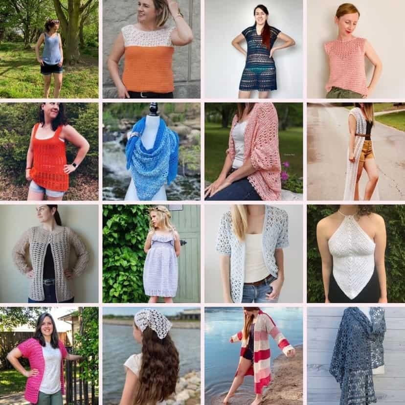 Collage of crochet summer designs.