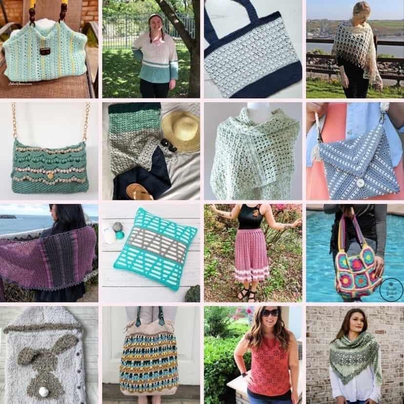 Collage of summer designs crochet patterns.