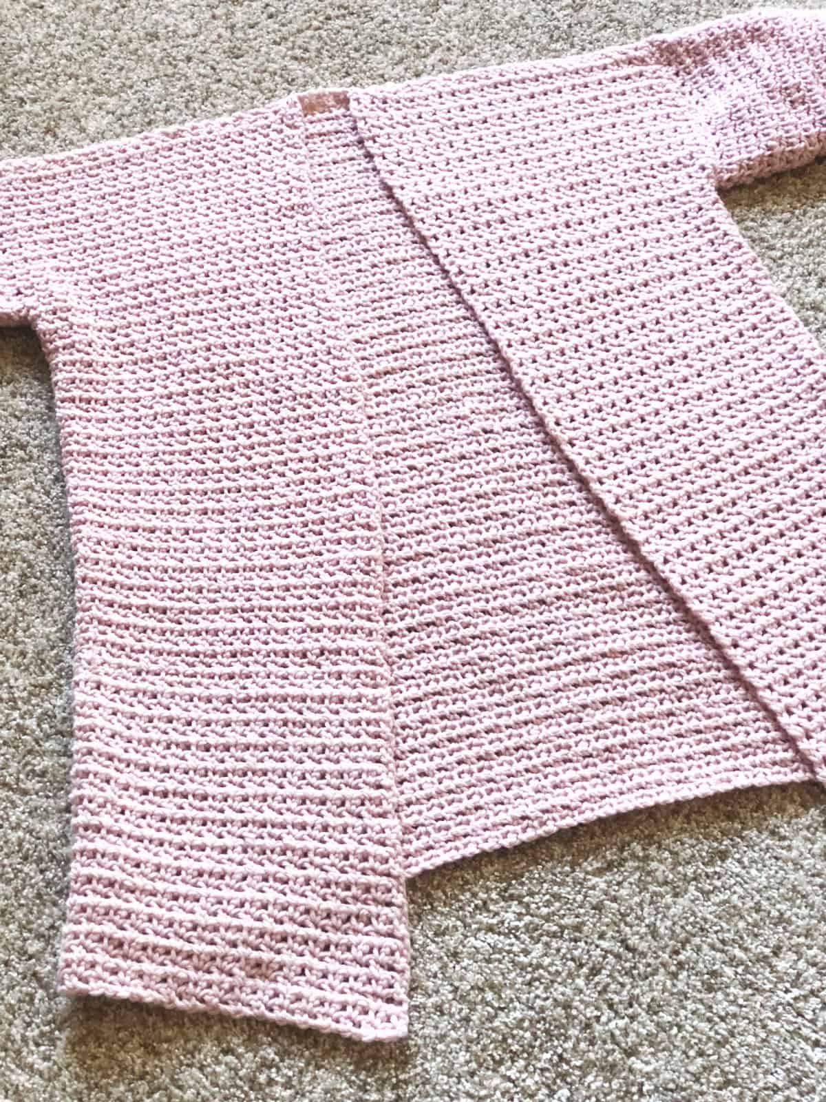 Front panels complete on cardigan.