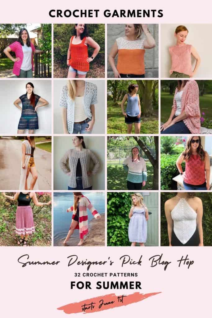 Pin collage of summer crochet pattern round up.