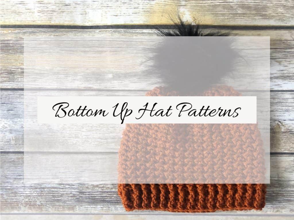 Bottom up crochet hat with pom.