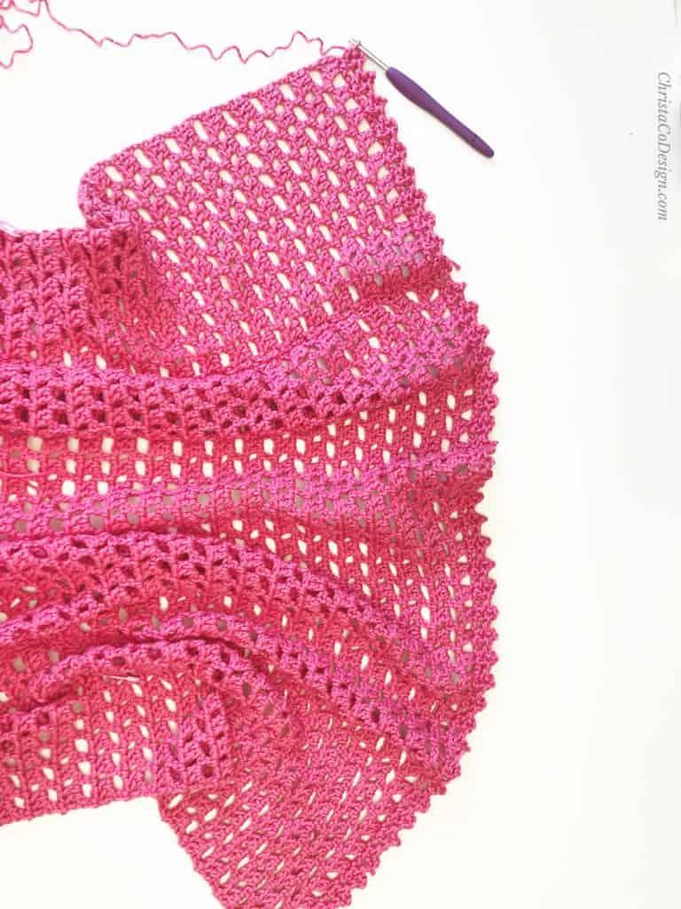 Elba summer cardigan crochet pattern hem.