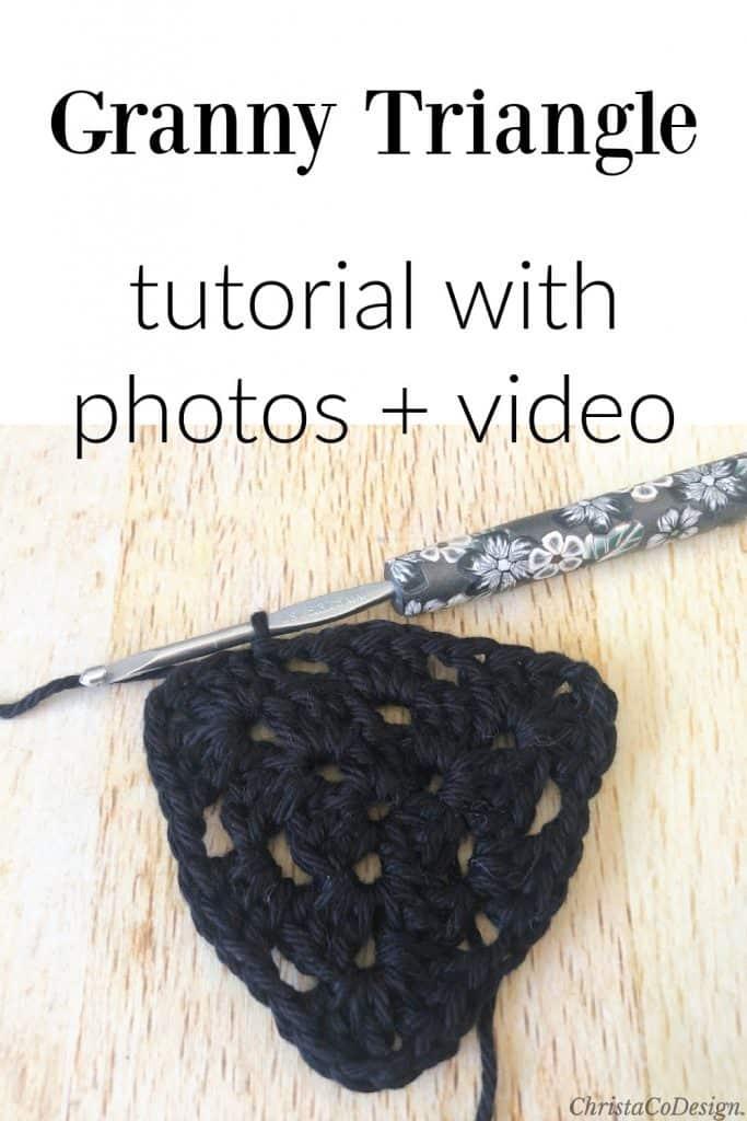 Granny triangle in black cotton yarn.