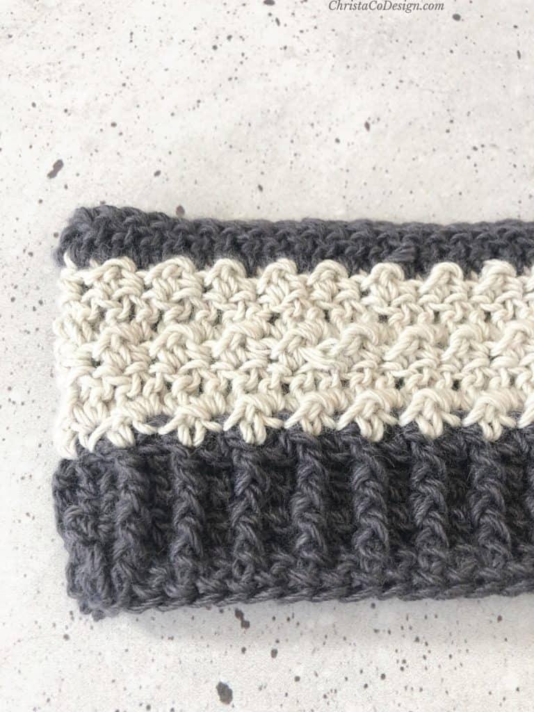 Textured crochet stitches up close.