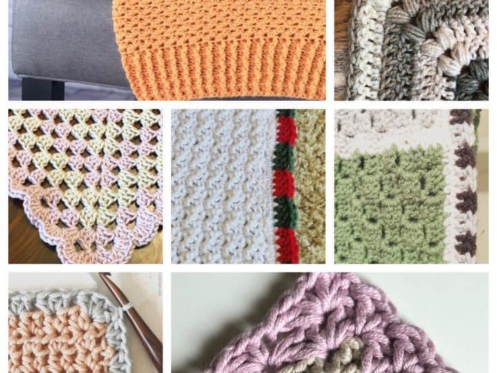 Collage of blanket borders crochet edges.