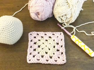 Pink and beige granny square.