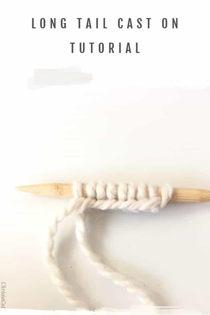 Stitches cast on knitting needle.