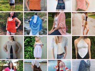 Second collage of designer's picks for summer crochet patterns.