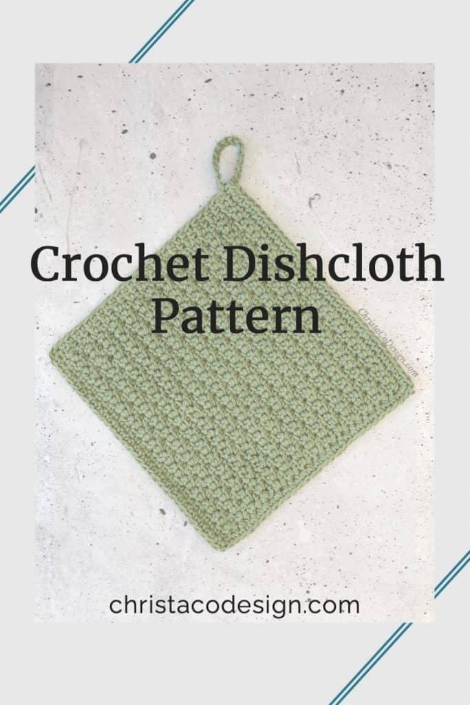 Green crochet dishcloth with loop.