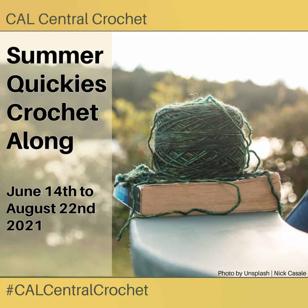 Yarn on books with text summer quickies crochet along.