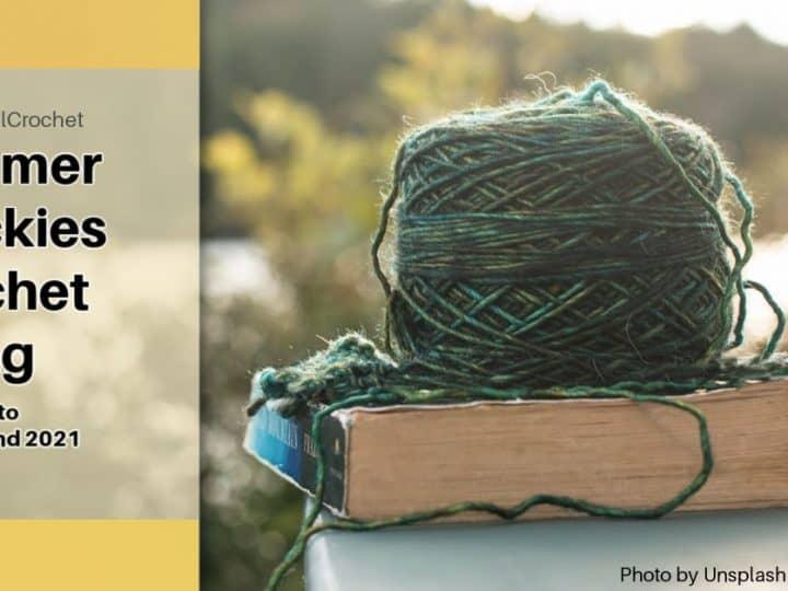 Summer Quickies Crochet Along yarn on book.