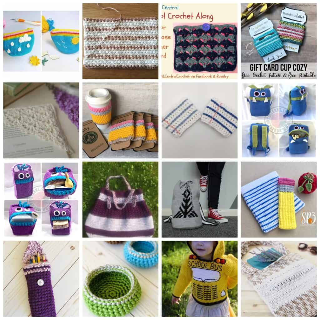 Crochet teacher gifts in a collage of crochet patterns for back to school.