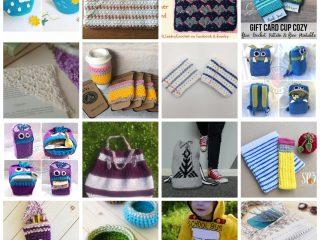 Collage of crochet teacher gift patterns for school.