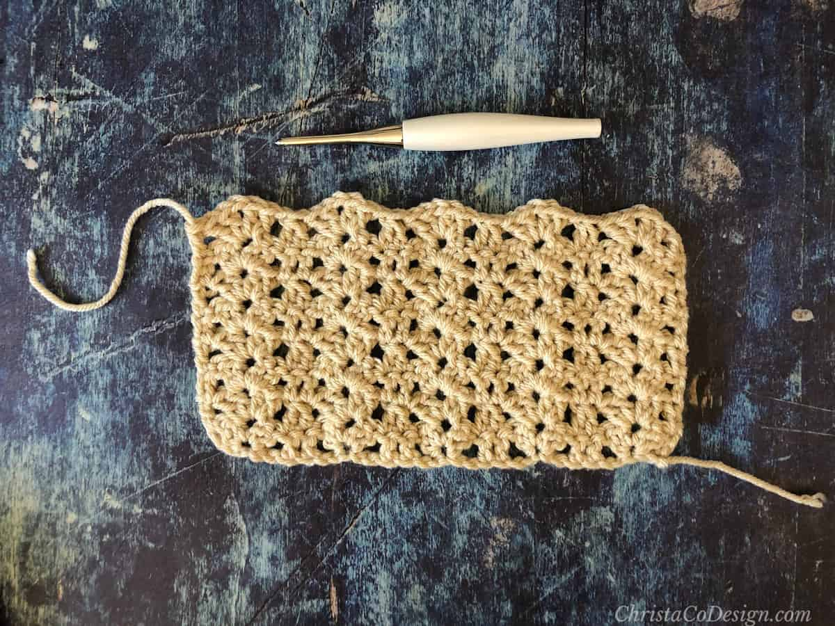 Crochet rectangle ready to fold.